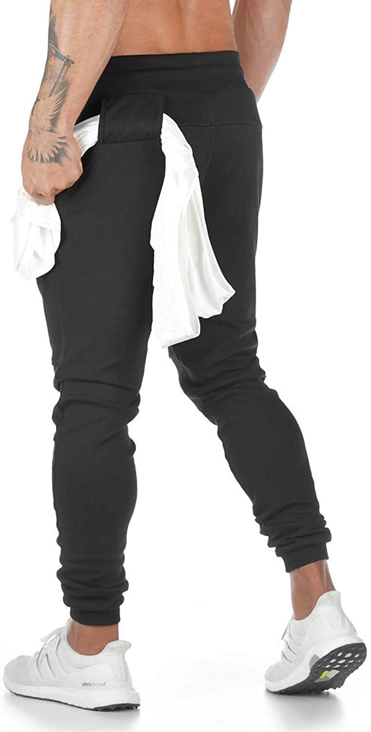 comefohome Mens Jogging Trousers Bottoms Tracksuit Slim Fit Sweatpants Joggers Running Pants with Zip Pockets