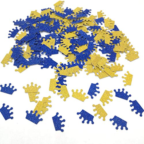 Hemarty Gold Royal Blue Glitter Crown Confetti Princess Baby Shower Decorations Crown Confetti Baby Girl Birthday Decorations Princess Girl's Birthday 200pc (Gold Royal Blue)]()