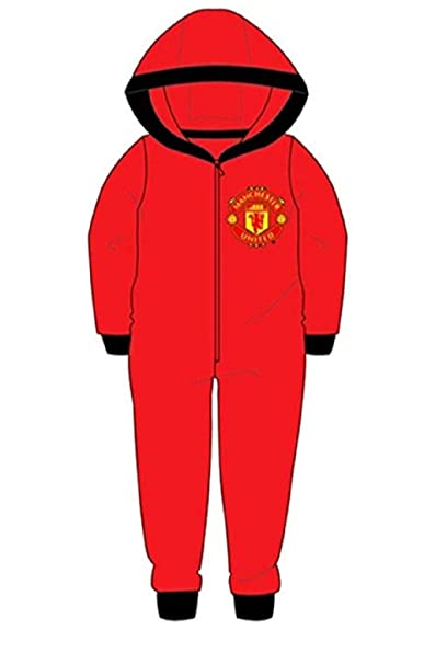 0a56da0a0 Childrens Boys Manchester Utd Man Utd Fleece Hooded All in One Age 3-12  Years  Amazon.co.uk  Clothing