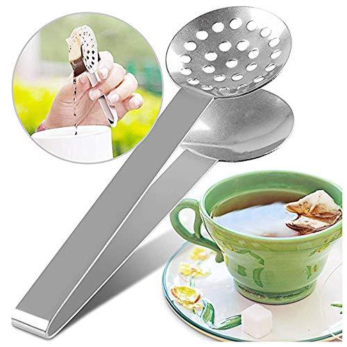 Tea Bag Squeezer, SUJING Stainless Steel Tea Bag Tongs Teabag Squeezer Strainer Holder Grip Metal Spoon Mini Sugar Clip Kitchen Bar Tools