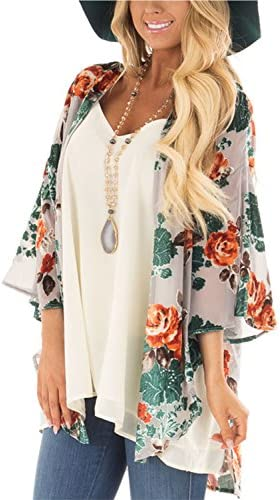 BB/&KK Womens Floral Kimono Cardigans Chiffon Casual Loose Open Front Cover Ups Tops