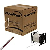 NavePoint 1000ft In Wall Power Cable 18AWG 18/2 CCTV Bulk Security Camera Power CCA White
