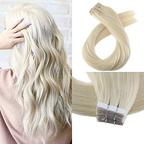 Moresoo 24 Inch Seamless Skin Weft Straight Unprocessed Remy Human Hair 40 Pieces 100 Grams #60 Platinum Blonde Tape on Hair Extensions Glue on Hair for Women Human Hair Extensions Full Head Tape in