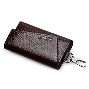 PADIEOE Leather Key Case Wallets Unisex Keychain Key Holder Ring with 6 Hooks Snap Closure YS170432US-Z