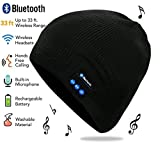 Image of Bluetooth Hat, Bluetooth beanie, Wireless Bluetooth Headset Hat Music Hat with Built-in Stereo Speakers Fit for Outdoor Sports, Skiing ,Running, Skating, Walking, Christmas Gifts (black)