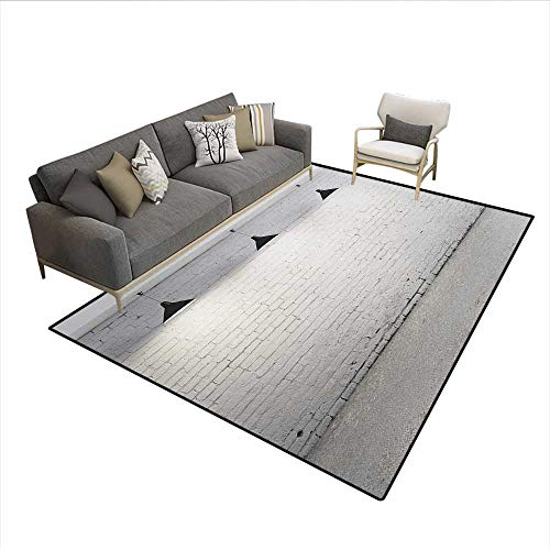 Floor Mat,Brickwork Concrete Room with Three Ceiling Lamps Modern Minimalistic Design,Small Rug Carpet,Black and WhiteSize:6'6