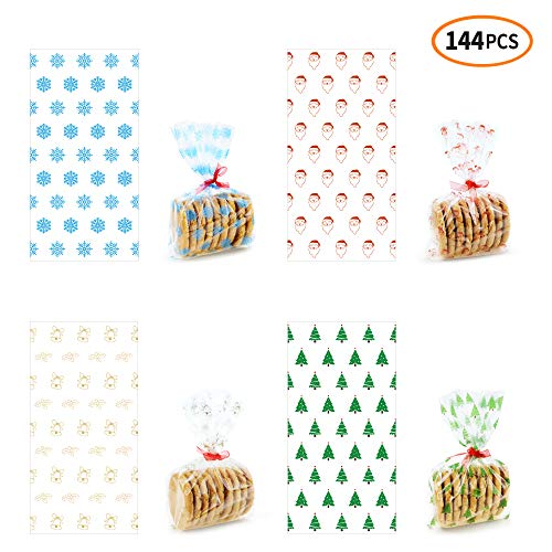 iFUNow 144 Pack Christmas Cellophane Treat Bags with