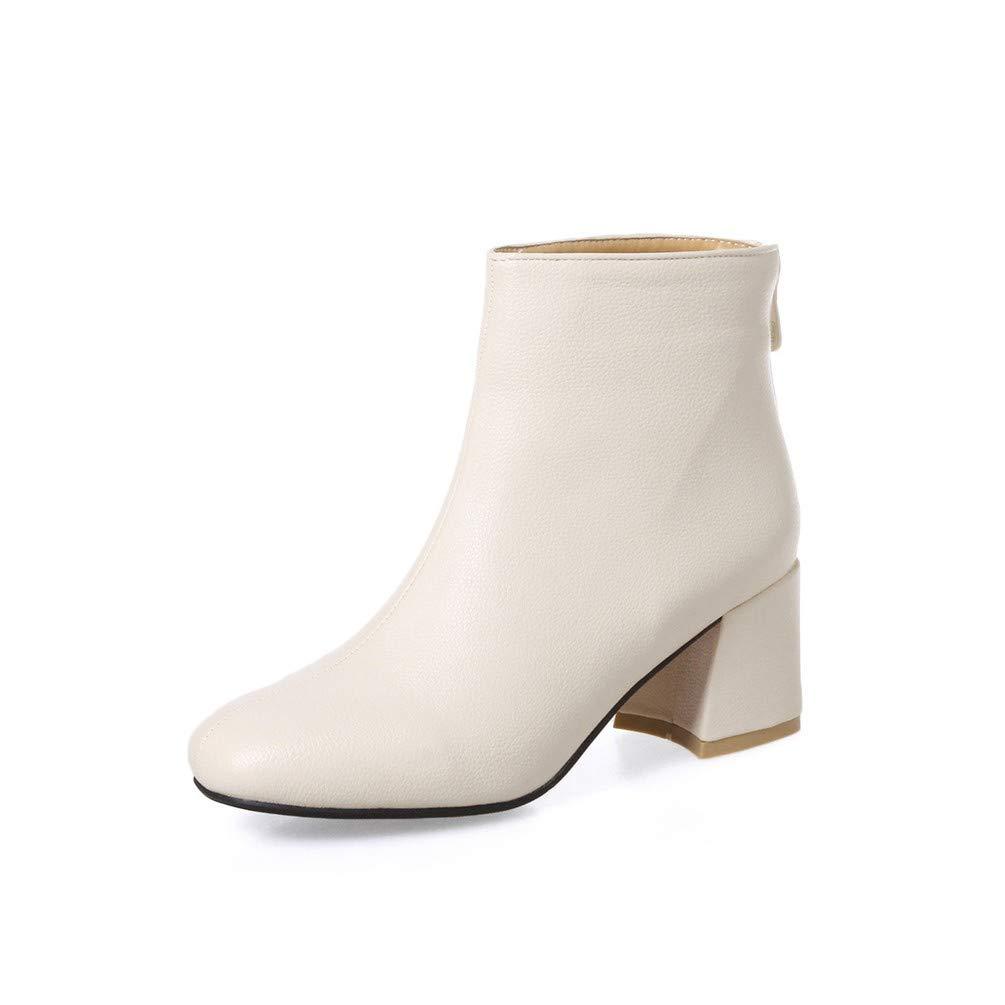 Damen Stiefel   Stiefel   Frauen - Stiefel, high Heels, eckig, groß, Glatte Kurze Stiefel.