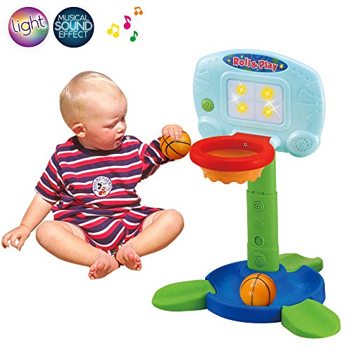Effects Electronic Sound (LotFancy Basketball Hoop for Kids Toddlers, Infant 2 in 1 Sports Toy Set, with Light and Music Sound Effect, Baby Electronic Interactive Learning Toy, 18 Months Above, Battery Included)