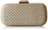 La Regale Faux Leather Woven Minaudiere Clutch, Grey, One Size