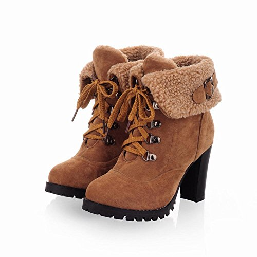 Lace Martin Winter Inkach Boots Heels Boots Shoes Women Yellow Warm up Snow Ankle High aqn5Ftw5x