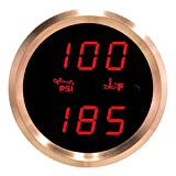 VEI Systems Dual-Display gauge: 100 PSI oil pressure and 320 deg-F water/coolant temperature (red/silver)