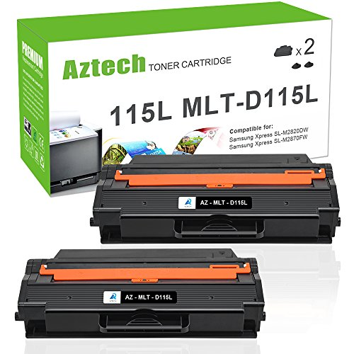 Samsung 2k Yield Toners (Aztech 2 Pack 3,000 Pages Yield Black Toner cartridge Replaces Samsung MLT-D115L MLTD115L MLT D115L Used For Xpress SL-M2620 SL-M2620ND SL-M2820DW SL-M2820ND SL-M2670FN SL-M2670N SL-M2870FD SL-M2870FW)