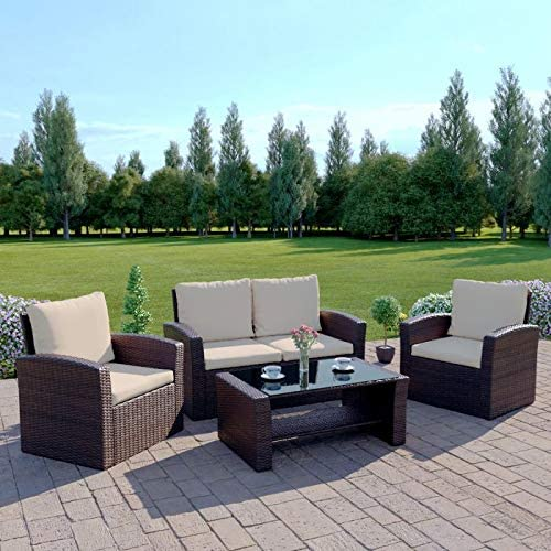 Abreo Brown Rattan Garden Furniture Sofa Set Brown Sofa Wicker Weave 4 Seater Patio Conservatory Luxury Amazon Co Uk Kitchen Home