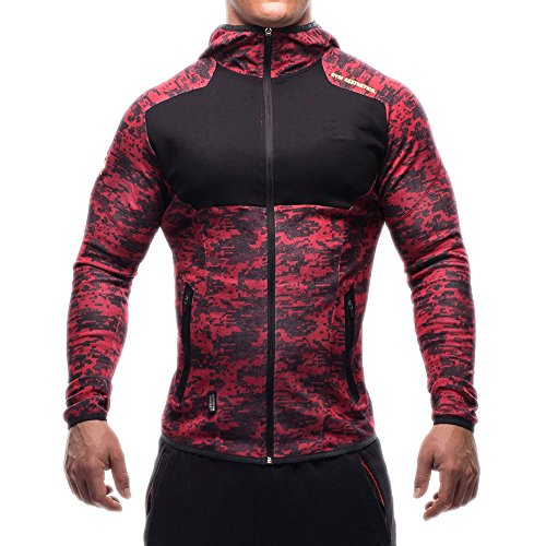 Men's Gym Workout Hoodie Jacket Fitted Training Bodybuilding Running Active Sweatshirts With Zipper Pockets (US Small/Tag L(Chest:36