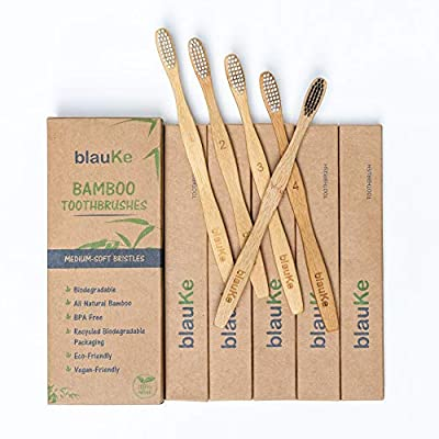 Bamboo Toothbrushes Medium Bristles 5 Pack - 4 Toothbrushes with White bristles and 1 Bamboo Toothbrush with Charcoal Bristle for Teeth whitening - Eco-Friendly Biodegradable Wooden Toothbrushes