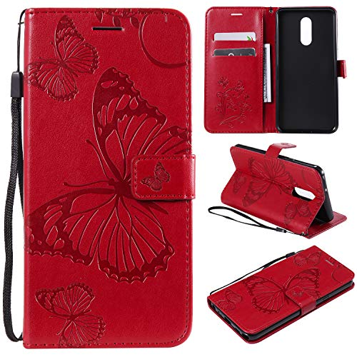 Smytu Lg Stylo 5 Case,Lg Stylo 5 Wallet Phone Case, Premium Emboss Butterfly Flip Wallet Shell PU Leather Magnetic Cover Skin with Wrist Strap Case for Lg Stylo 5(B-Red) from Smytu