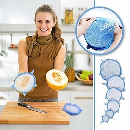 Insta coperchi universali in silicone elastico aspirazione conservante ciotola copertura circolare per copertura 6pz Blue Tofree
