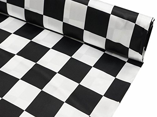 Efavormart 54 inch x 10 Yards Black and White Checkerboard Satin Fabric - Fabric Checker