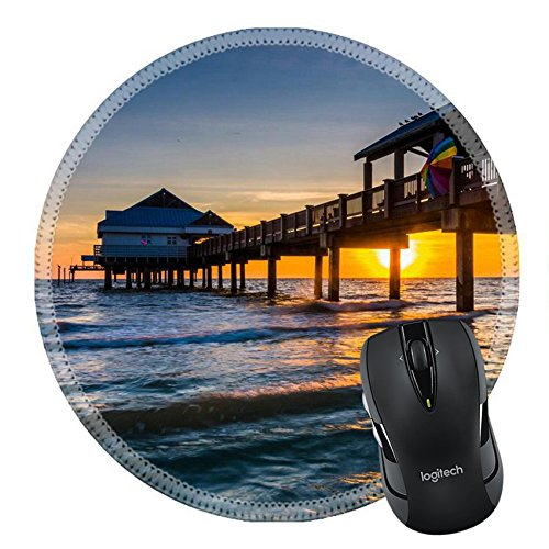 MSD Natural Rubber Mousepad IMAGE ID 33722674 Fishing pier in the Gulf of Mexico at sunset Clearwater Beach - Pier Park Florida