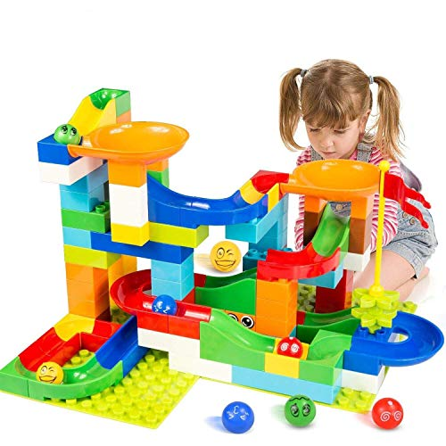 BATTOP Marble Run Building Blocks Construction Toys Set Puzzle Race Track for Kids-97 Pieces
