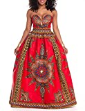 LFYH Women's African Vintage Print Dashiki Flare Evening Prom Party Maxi Dress