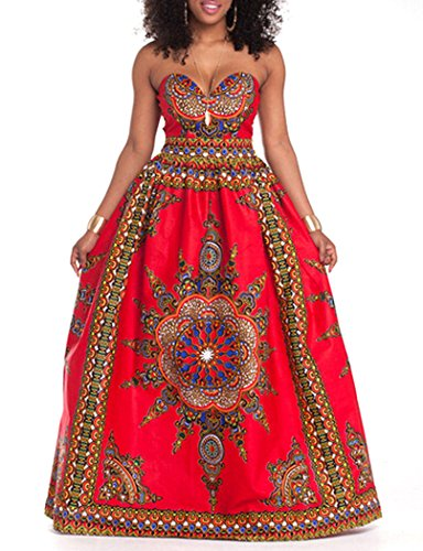 LFYH Women's African Vintage Print Dashiki Flare Evening Prom Party Maxi Dress by LFYH