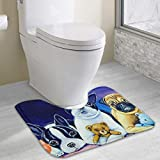 Boston Terrier And Pug Puppies Anti-bacterial U-shaped Toilet Floor Rug Non-Slip,Water Absorbent