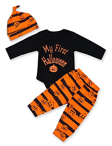 3Pcs/ Outfit Set Baby Boy Girl Infant My First Halloween Rompers