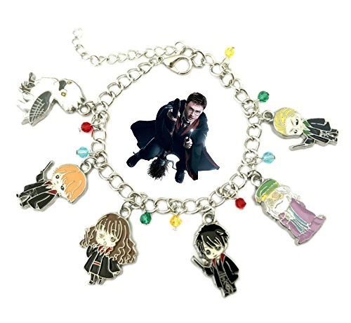 Harry Potter Chibi Charm Bracelet w/Gift Box House Crests Books Movies Premium Quality Cosplay Jewelry Series by (Halloween Harry Potter Music)
