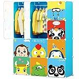 KOUSI Portable Kids Wardrobe Children Dresser Hanging Storage Rack Clothes Closet Bedroom Armoire Cube Organizer Formaldehyde-free Furniture, Blue, 8 Cubes&2 Hanging Sections