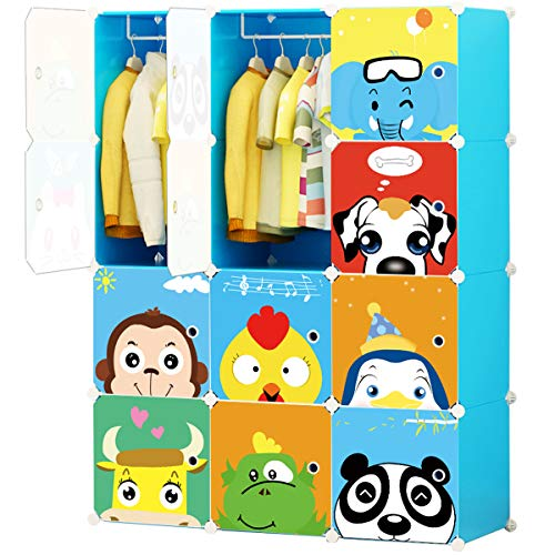 KOUSI Portable Kids Wardrobe Children Dresser Hanging Storage Rack Clothes Closet Bedroom Armoire Cube Organizer Formaldehyde-free Furniture, Blue, 8 Cubes&2 Hanging Sections by KOUSI