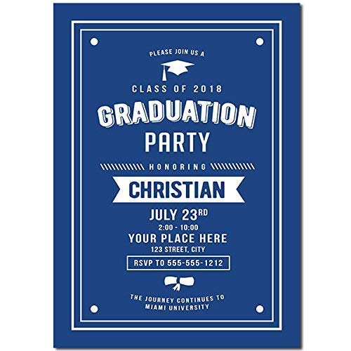 (Blue And White Graduation Party Invitation)