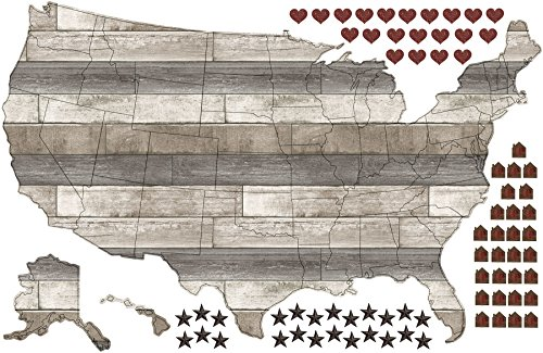 Wall Pops DWPK2178 Country Living US Map Decal