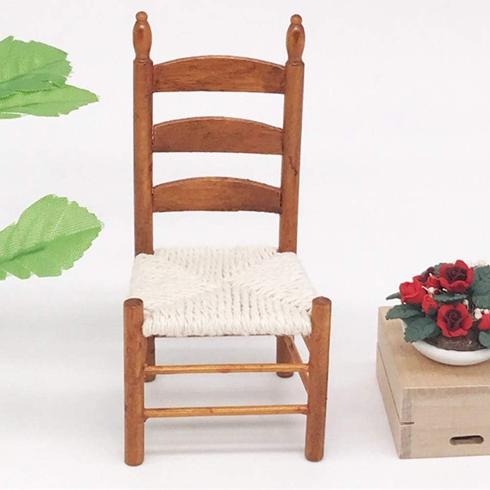 Tnfeeon 1:12 Miniatur Holz Vintage Stuhl Puppenhaus Mini M/öbel Wohnzimmer Stuhl Studie Szene Dekoration DIY Puppenhaus Zubeh/ör Typ 1