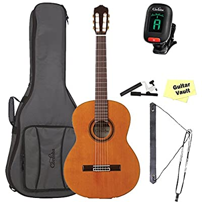 Cordoba C7 CD Classical Guitar Bundle With Gig Bag and Nylon String Accessory Pack (04675)