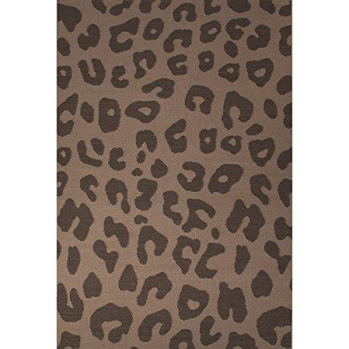(Diva At Home 8' x 10' Coffee Bean and Light Cream Jaguar Animal Print Flat Weave Hand Woven Wool Area Throw Rug)