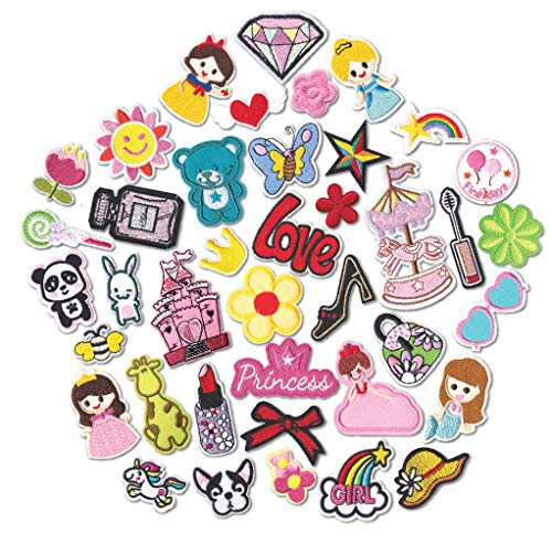 Kids Embroidered Backpacks (40pcs Cute Girls Iron On Patches Embroidered Pretty Sewing On Patches Appliques for Clothes Jackets Hats Backpacks Jeans Kids Children; Princess Rainbows Unicorns Flowers Rose Hearts Butterfly)