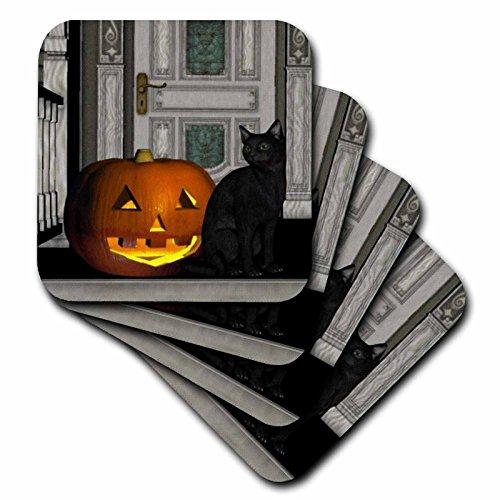3dRose cst_28913_2 Black Cat with Jack O Lantern-Soft Coasters, Set of 8