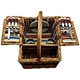 Picnic Basket – Large Basket With Settings For Two – Includes: Silverware, Glasses, and Accessories