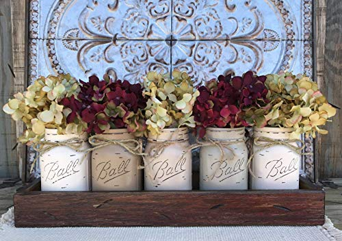 Mason Canning JARS in Wood ANTIQUE RED Tray Centerpiece with 5 Ball Pint Jar -Kitchen Table Decor -Distressed -Flowers (Optional)- CREAM X2, COFFEE, SAND, THISTLE Painted Jars (Pictured) ()
