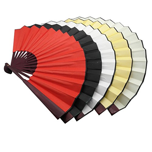 TrendBox Chinese Traditional Nylon-Cloth Handheld Folding Fan For Pratice Performance Dancing Ball Parties Unisex - 1 Set (5 Colors)