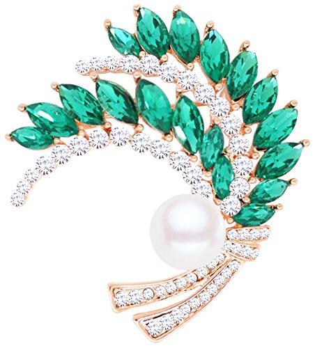 Gyn&Joy Circles Wedding Bouquet Wheat Brooch Pin in Crystal Rhinestone Pearl for Women&Girls BZ050 (Green)
