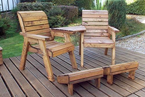 Home Gift Garden - Asiento de Madera para acompañante y reposapiés para jardín - Sofá de Dos plazas -