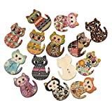 Souarts Mixed Random Cat Shape Wooden Buttons for Sewing Crafting Pack of 100