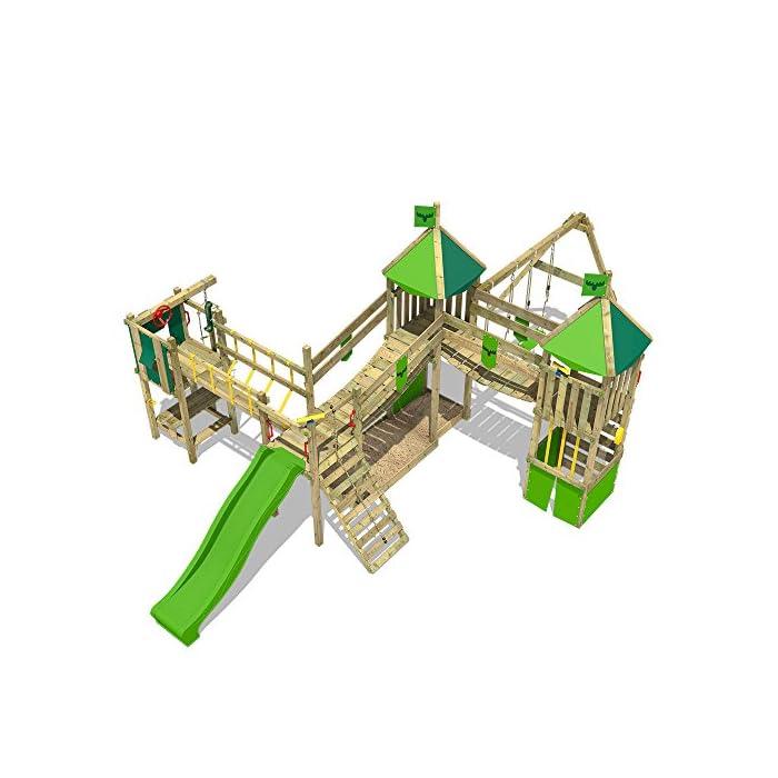 51Lp VCvDkL Gran fortaleza para caballeros nobles y princesas con 2 puentes oscilantes - Calidad-y- seguridad verificadas Madera maciza impregnada en clave, de fácil mantenimiento - Viga de columpio 9x9cm - Postes verticales 7x7cm Instrucciones de montaje sencillas y detalladas - 10 años de garantía* para todos los elementos de madera