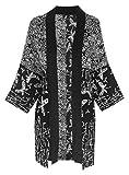 Fashion Fulfillment Plus Size Kimono Cardigan, Womens Jacket, Black Patchwork Kimono, One Size 1x/2x