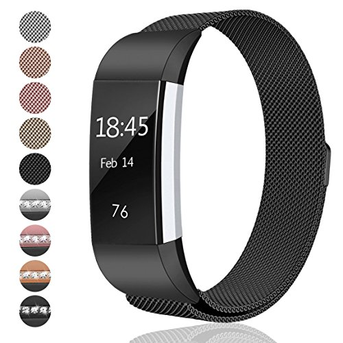 Black Color Extra Small (hooroor Fitbit Charge 2 Bands Small & Large for Women Men Girls, Milanese Loop Stainless Steel Metal Bracelet Strap with Unique Magnet Lock, No Buckle Needed for Fitbit Charge 2 (Black, Small))