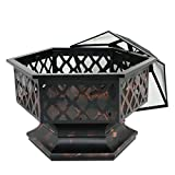 Zeny Fire Pit Hex Shaped Fireplace Outdoor Home