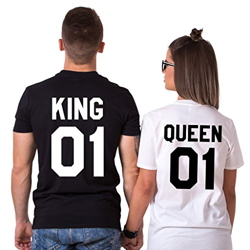 King 01 Queen 01 Matching T-Shirts, Couple Outfit (Black/White)-M/S (Couples Outfit)